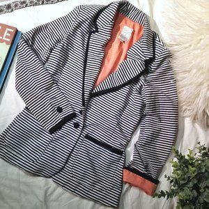 navy/white/salmon striped fitted contrast blazer